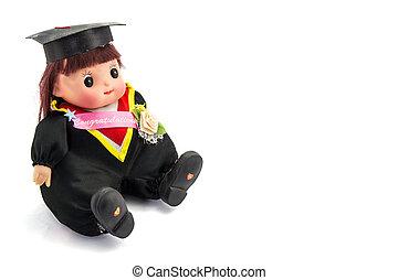 lindo, graduación, niña