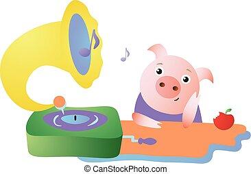 lindo, gramófono, escucha, sueños, cerdo