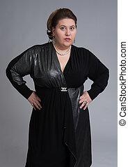 lindo, grasa, mujer, expresión