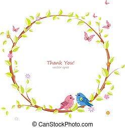 lindo, guirnalda floral, con, bastante, aves, para, su, diseño