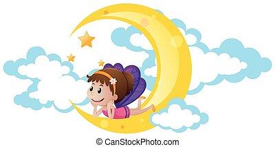 lindo, hada, sentado, luna