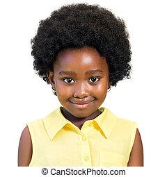 lindo, hairstyle., africano, retrato, niña, afro