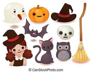 lindo, halloween, colección, icono