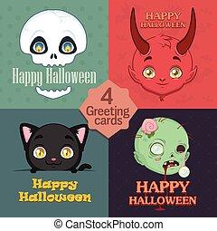 lindo, halloween, saludos, colección, 4