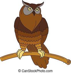 lindo, hand-drawn, búho águila