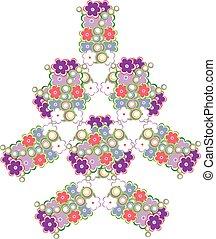 lindo, hecho, resumen, árbol, vector, plano de fondo, flores