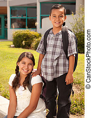 lindo, hermana, escuela, hermano, hispano, listo