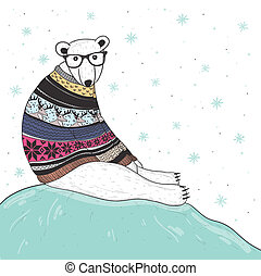 lindo, hipster, oso, polar
