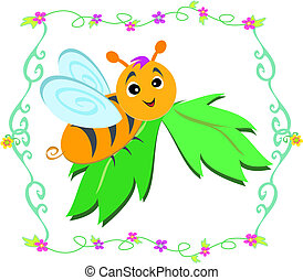 lindo, hoja, abeja