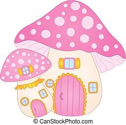 lindo, hongo, casa, house., amanita, vector