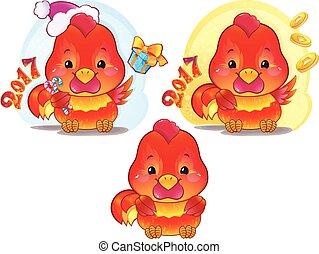 lindo, horóscopo chino, fuego, símbolo, -, gallo