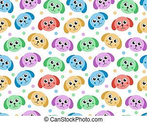 lindo, illustration., repetitivo, pattern., seamless, perro, texture., fondo., vector, perrito, niños, interminable