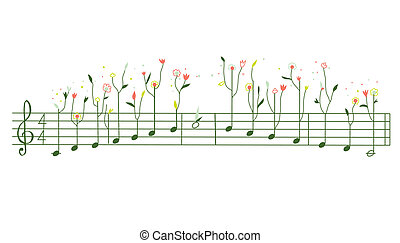 lindo, -, ilustración, diseño, melodía, flores, gamma