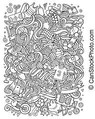 lindo, ilustración, mano, doodles, dibujado, deporte, ...