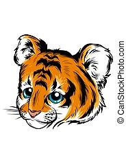 lindo, ilustración, tigre, mentiras, vector, bebé