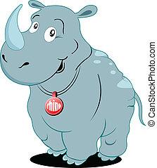 lindo, ilustración, vector, rinoceronte