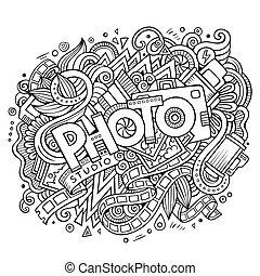 lindo, inscripción, foto, mano, doodles, dibujado, ...