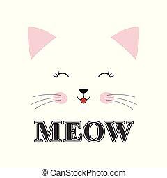 lindo, inscripción, maullar, aislado, gato, fondo., blanco,...