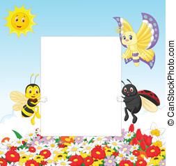lindo, insecto, con, muestra en blanco