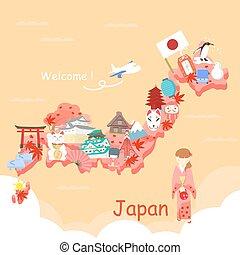 lindo, japón, caricatura, elemento