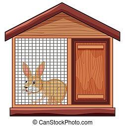 lindo, jaula, conejo