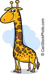 lindo, jirafa, caricatura, ilustración