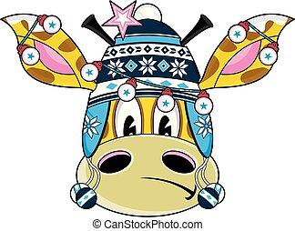 lindo, jirafa, sombrero, caricatura, bobble