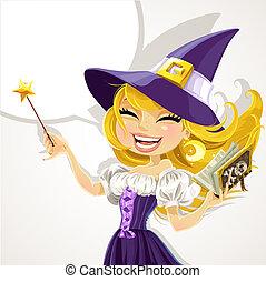 lindo, joven, bruja, con, magick, varita