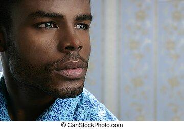 lindo, joven, norteamericano, negro, africano, retrato, ...