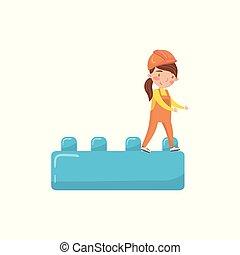 lindo, juguete, buiding, actividades, constructor, ilustración, niñez, temprano, vector, niña, educación, bloque, caricatura, preescolar