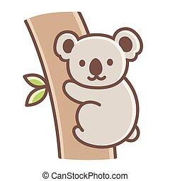 lindo, koala, caricatura