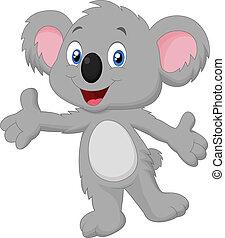 lindo, koala, caricatura, posar