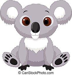 lindo, koala, caricatura, sentado