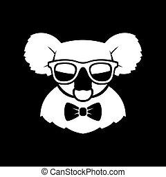 lindo, koala, tie., simple, signo., arco, vector, hipster,...