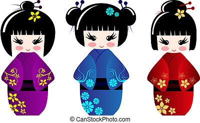 lindo, kokeshi, muñecas
