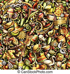 lindo, latín, patrón, seamless, doodles, américa, caricatura