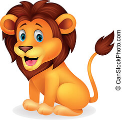 lindo, león, caricatura