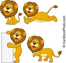 lindo, león, conjunto, caricatura