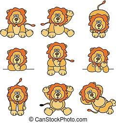 lindo, león, conjunto