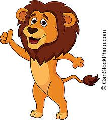 lindo, león, pulgar up, caricatura