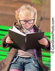 lindo, lectura de la muchacha, libro
