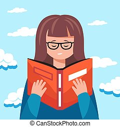 lindo, lectura de mujer, un, book2, educativo, concepto