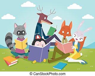 lindo, libros, animales, lectura