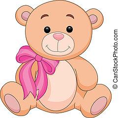 lindo, llenar, caricatura, oso, marrón