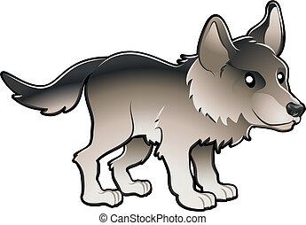 lindo, lobo, ilustración, vector