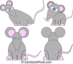 lindo, loco, conjunto, ratones, caricatura