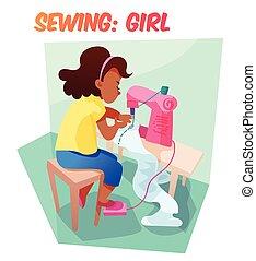 lindo, máquina de coser, norteamericano, africano, niña