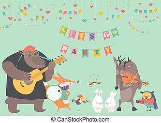 lindo, música, animal, banda