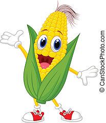 lindo, maíz, caricatura, carácter