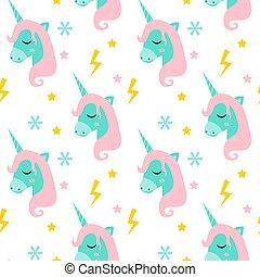 lindo, magia, illustration., unicornio, fairytale, moderno, ...